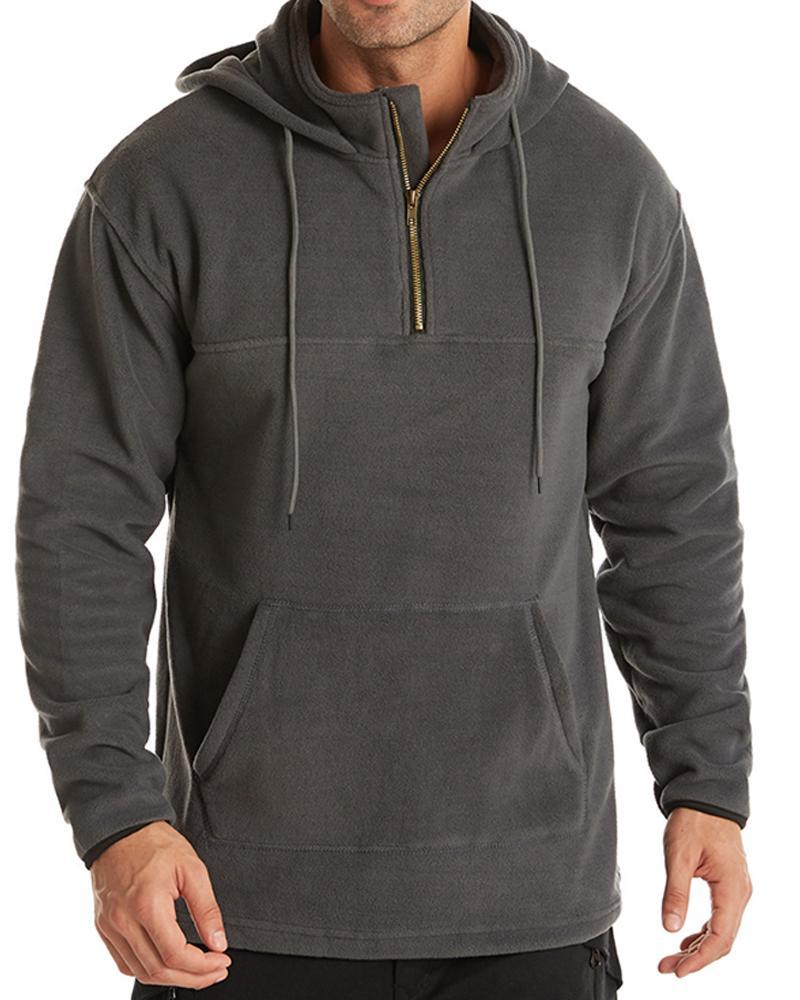 Solid Long Sleeve Hooded Loose Sweatshirts