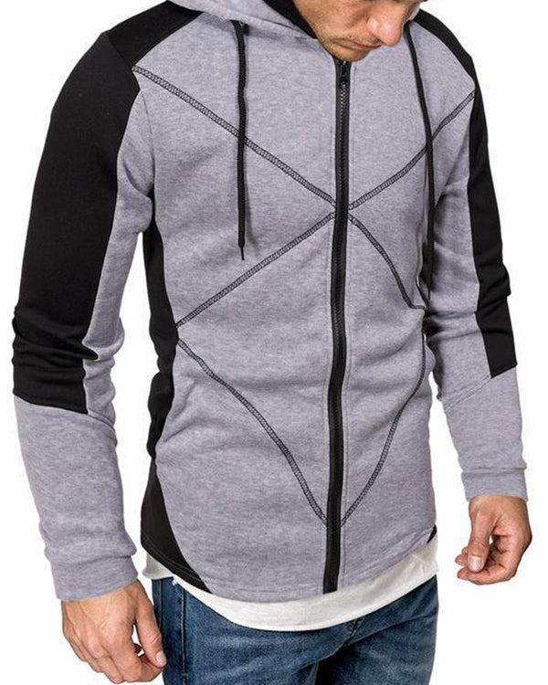 Colorblock Long Sleeve Zipper Hoodies Sweatshirts Coats