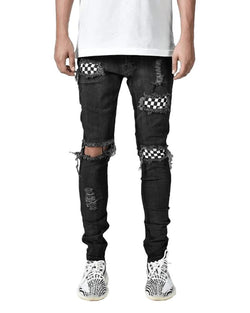 Solid Patchwork Skinny Slim Ripped Denim Pants