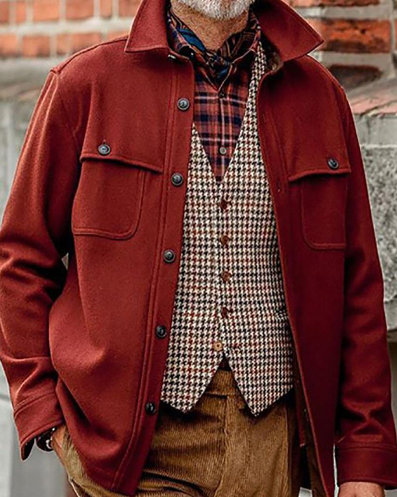 Solid Long Sleeve Slim Button-down Jackets