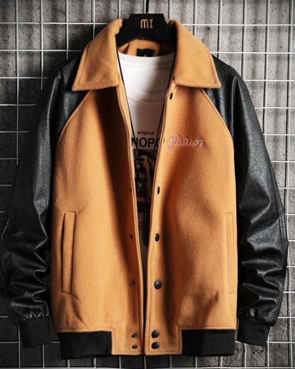 Colorblock Splcing Long Sleeve Loose Jackets