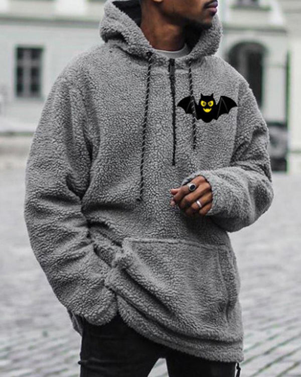 Bat Print Long Sleeve Hoodies Fluffy Sweatshirts