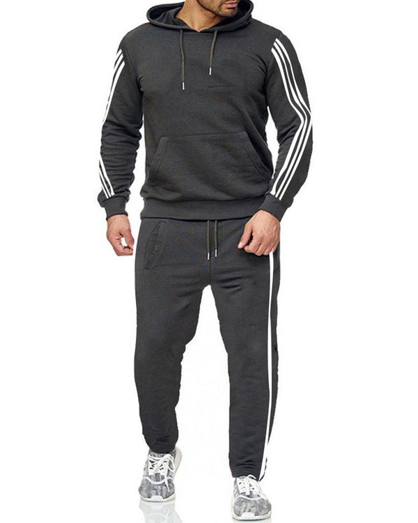 Striped Long Sleeve Loose Hoodies Sweatshirts Suit Sets