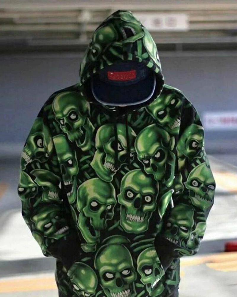 Multi-skeleton Printing Long Sleeve Loose Hoodies Sweatshirt
