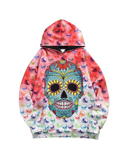 Multicolor Skeleton Long Sleeve Loose Hoodies Sweatshirts