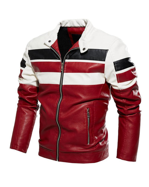 Color Block Long Sleeve Biker Jacket