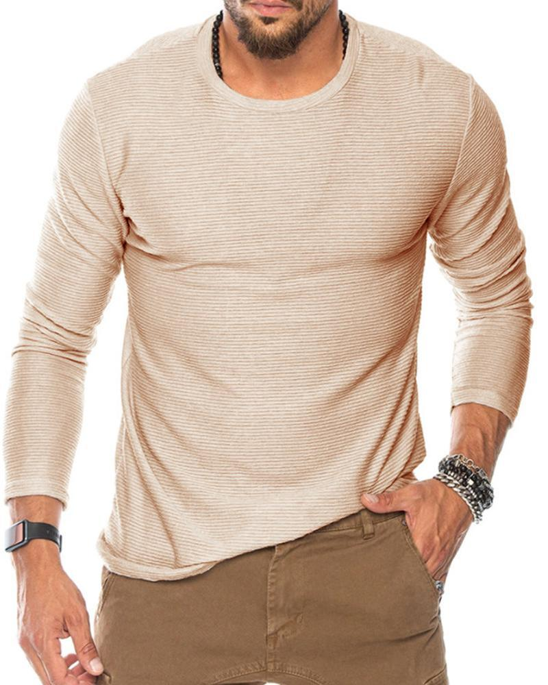 Solid Striped Long Sleeve Fitting T-shirts