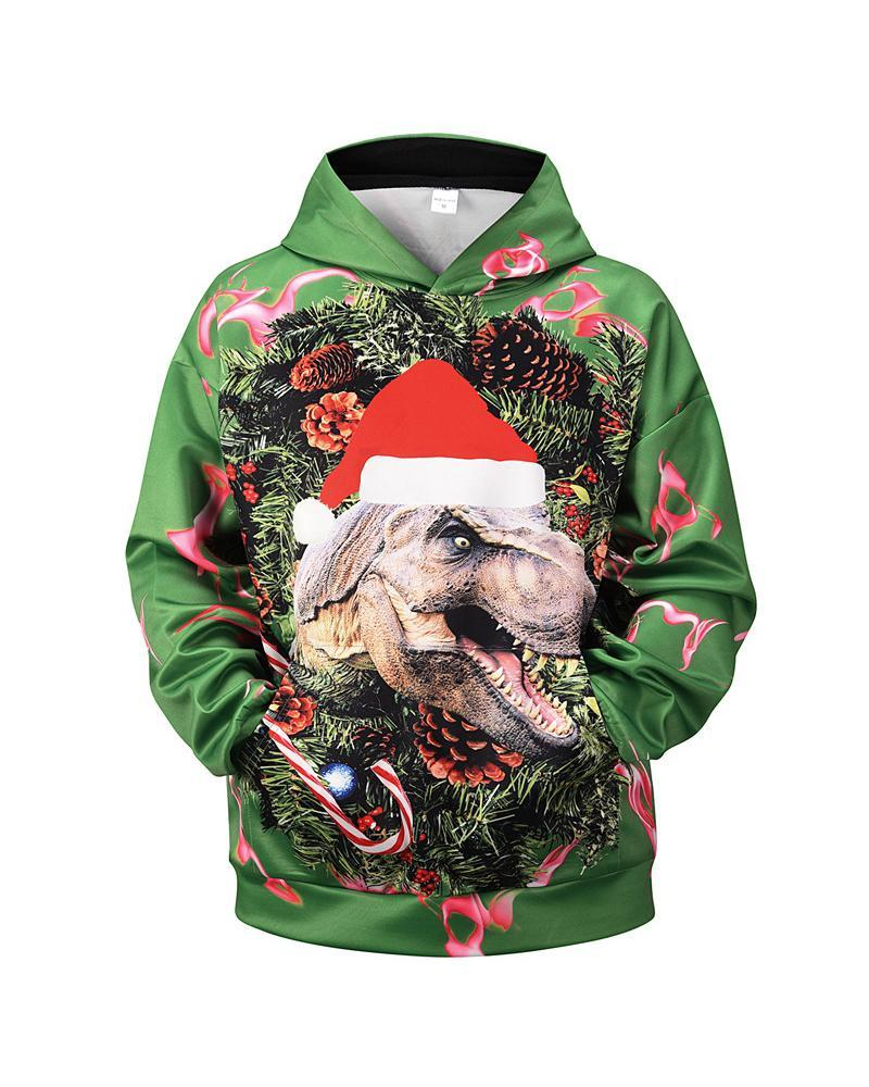 3D Christmas Dog Print Long Sleeve Hooides Sweatshirts