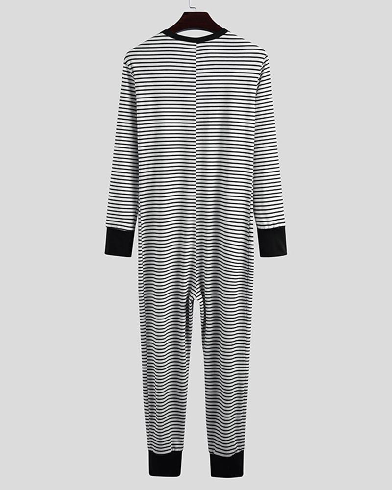 Striped Long Sleeve Skinny Jumpsuit