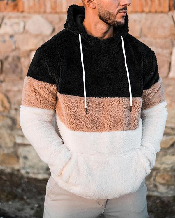 Colorblock Long Sleeve Fluffy Hoodies Sweatshirts