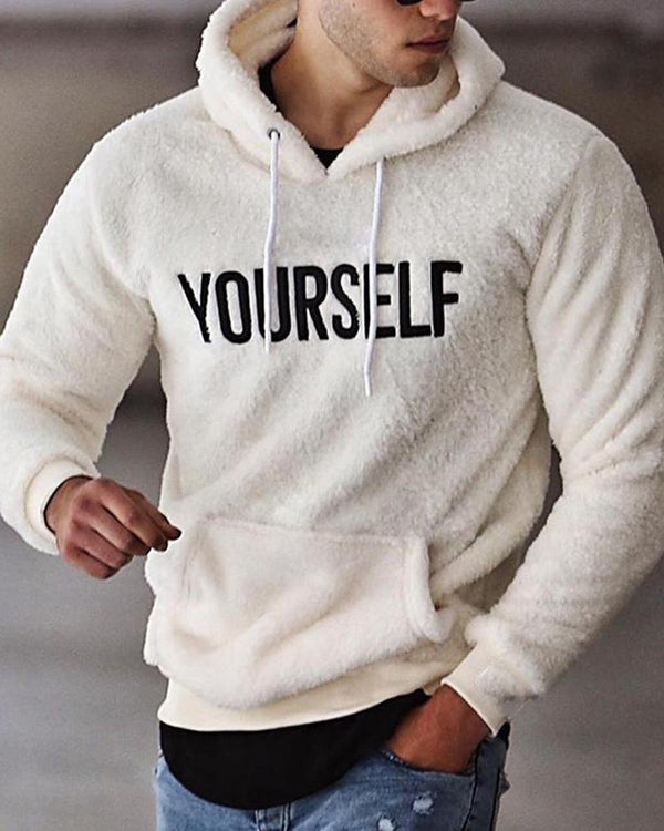 Letter Print Long Sleeve Hoodies Fluffy Sweatshirts