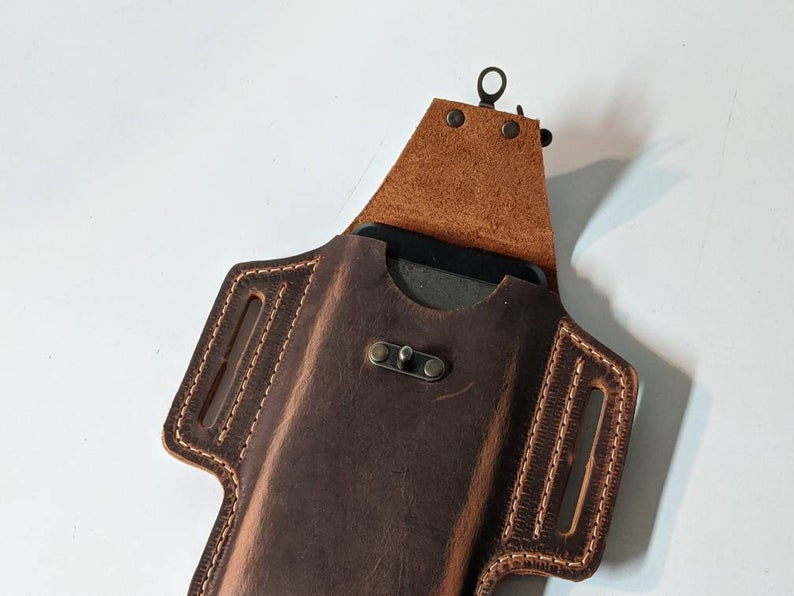 Leather Phone Holster, Leather phone case with belt loops