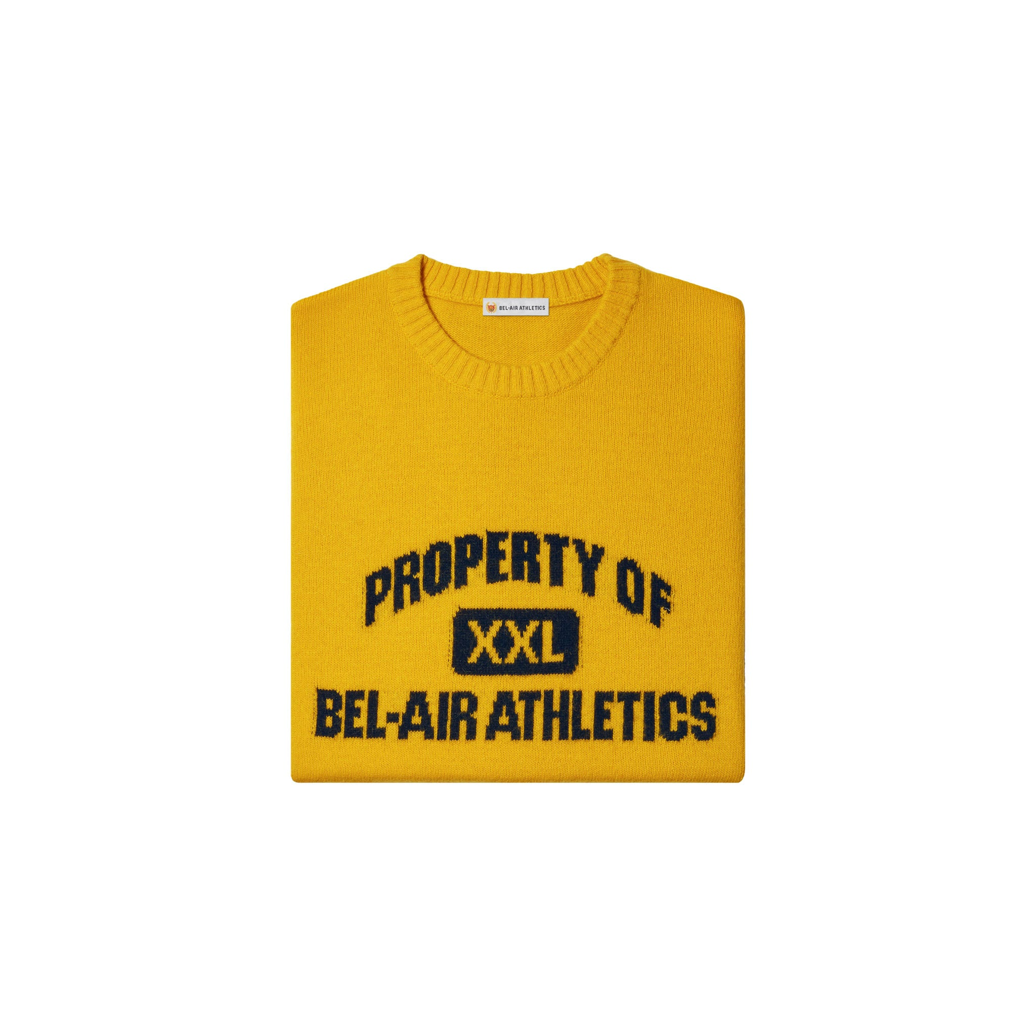 Property of Intarsia Knit - Collegiate Gold with Vintage Black intarsia