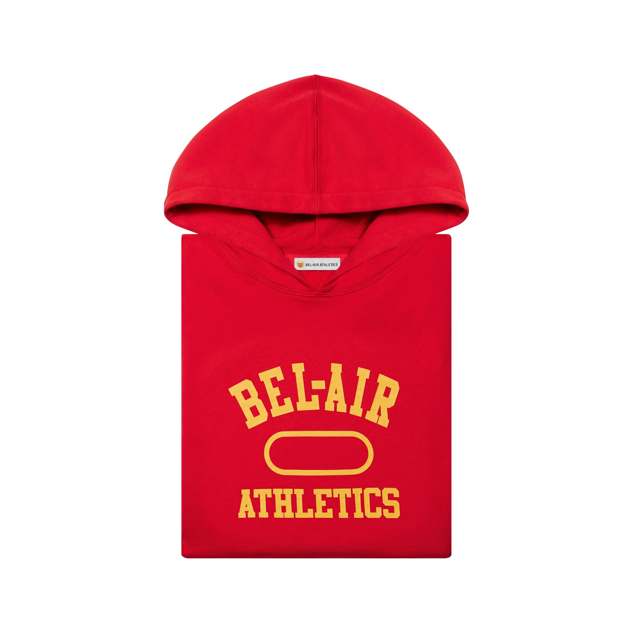 Gym logo cropped hoodie - Academy red with Collegiate Gold print