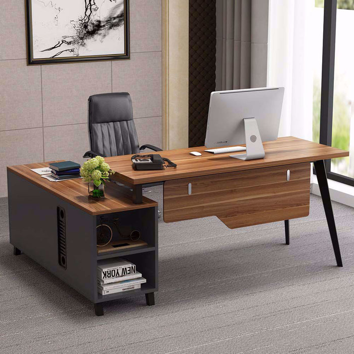 Tribesigns L-Shaped Desk, Large Executive Office Desk Computer Table with Storage Shelves
