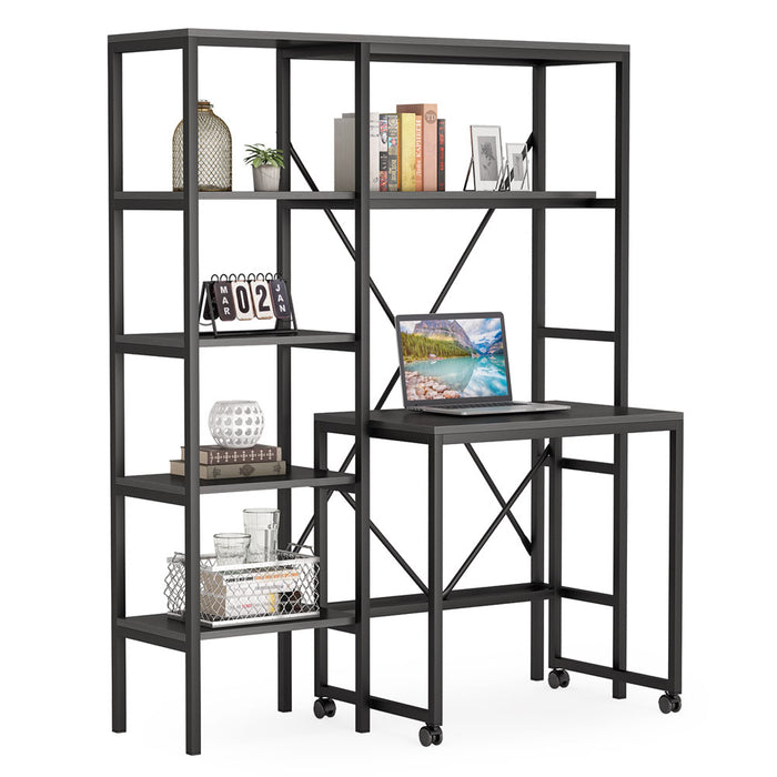 Tribesigns Computer Desk with 5 Storage Shelves and Monitor Stand