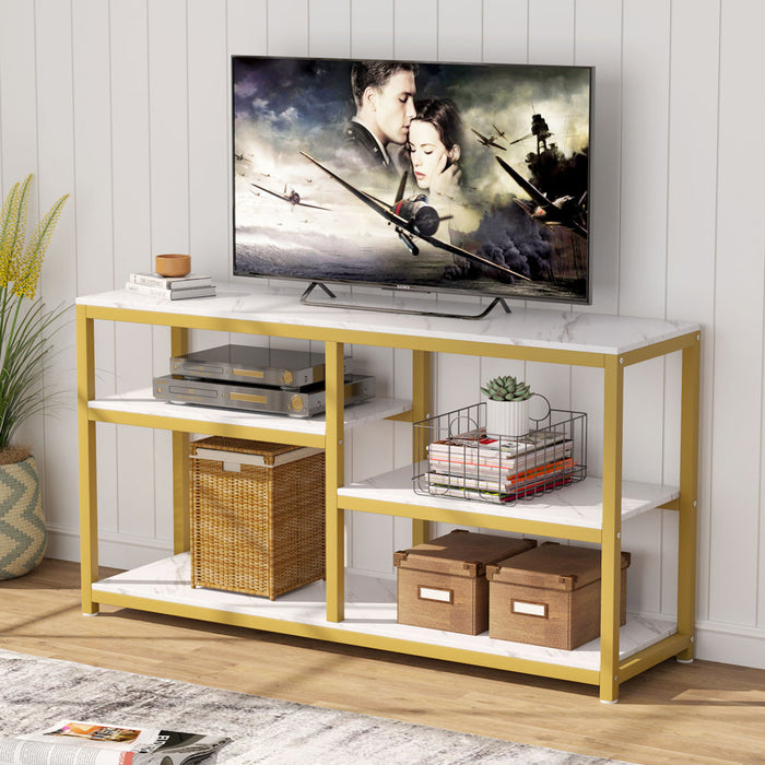 Tribesigns TV Stand, Vintage Industrial Media Stand with Net Storage Shelf