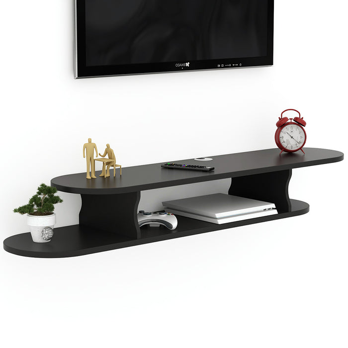 Tribesigns 2 Tier Modern Wall Mounted Media Console Floating TV Shelf TV Stand