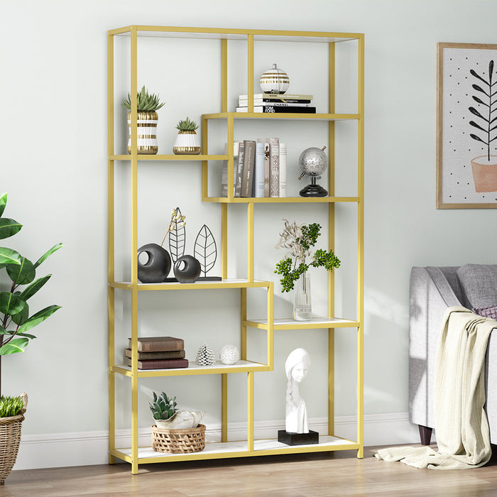 Tribesigns Bookshelf Bookcase, Gold 8-Open Shelf Etagere Bookcase with Faux Marble