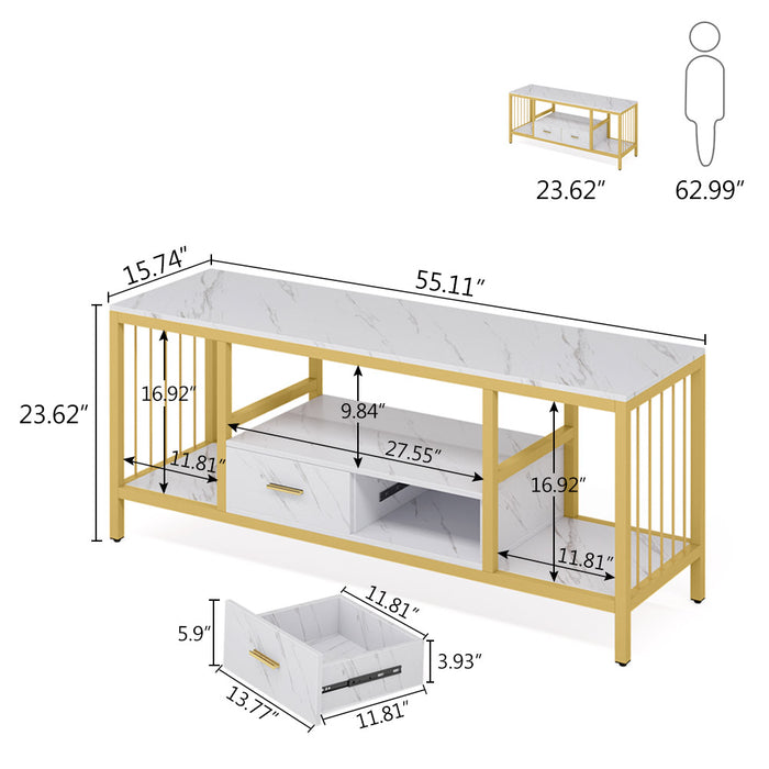 Tribesigns TV Stand with Drawers, 55 Inches Gold Media Stand 3-Tier TV Console