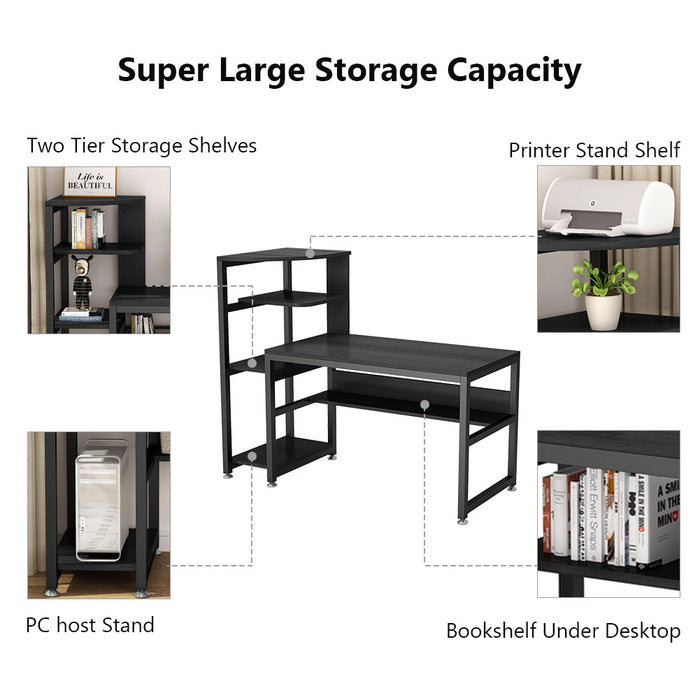 Tribesigns Computer Desk with 4-Tier Storage Shelves
