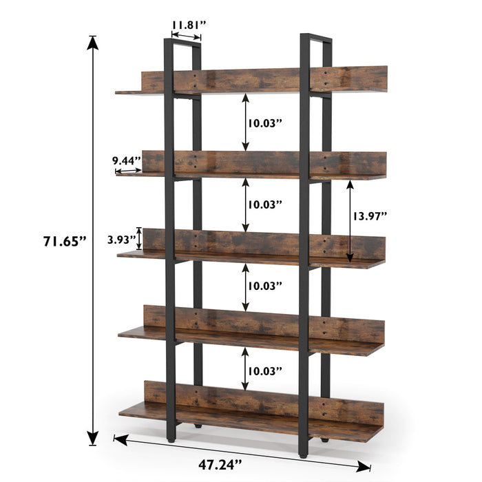 Tribesigns 5 Tiers Bookcase, 5-Shelf Industrial Style Etagere Bookcases