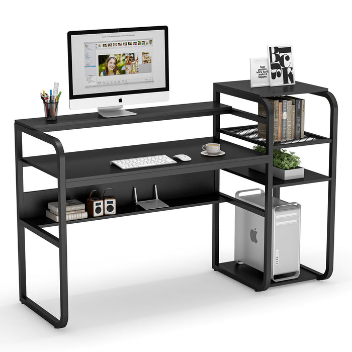 Tribesigns Rustic Computer Desk with Storage Shelves, 57 inch Industrial Office Desk with Hutch Study Writing Table