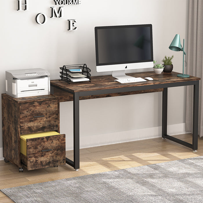 Tribesigns Computer Desk with Vertical File Cabinet, 47 inch Office Desk Workstation Study Writing Table