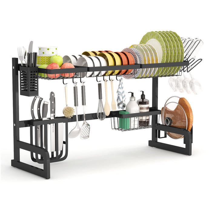 Over the Sink Dish Drying Rack Adjustable 2-Tier Large Dish Dryer Rack for Kitchen Organizer Storage
