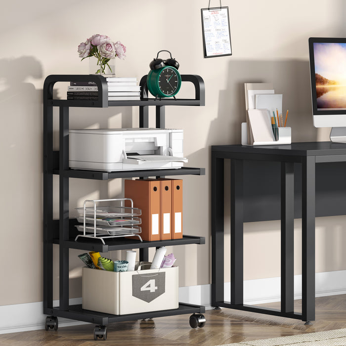 Tribesigns  4-Shelf Printer Stand with Wheels Storage Shelves for Home & Office