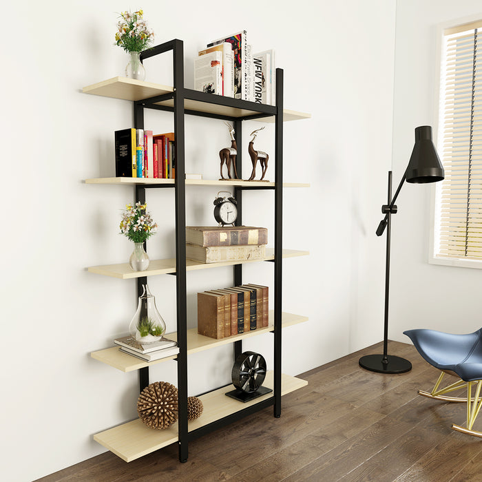 Tribesigns 5-Tier Bookshelf, Vintage Industrial Style Bookcase