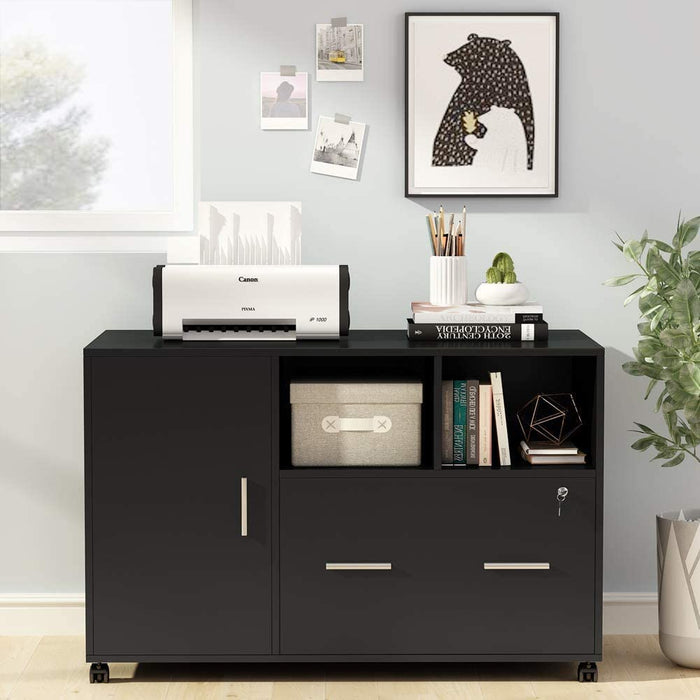Large File Cabinet with Lock and Drawer, Modern Mobile Lateral Filing Cabinet