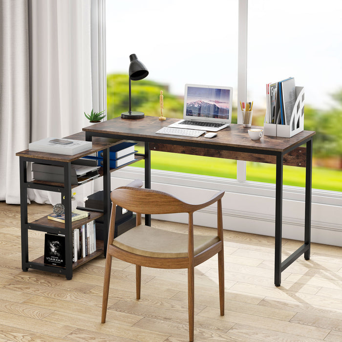 Tribesigns L-Shaped Computer Desk with Storage Shelves Industrial Reversible Computer Desk