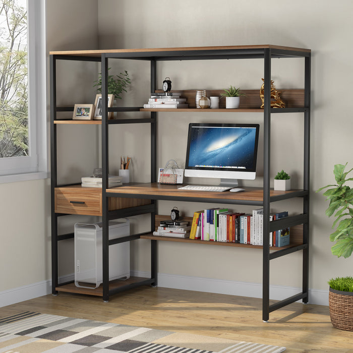 Tribesigns 59 Inches Computer Desk with 5 Storage Shelves and One Drawer