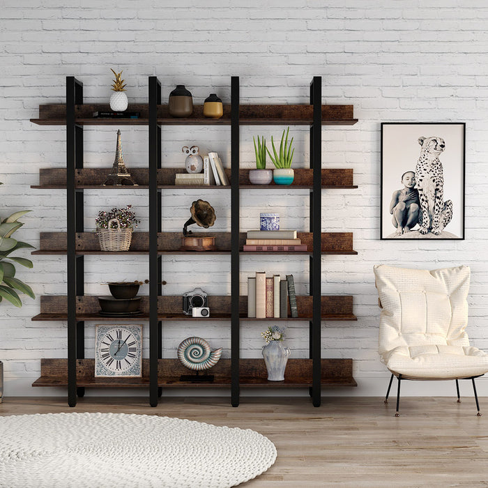 Tribesigns Rustic Triple Wide 5-Tiers Open Bookcase