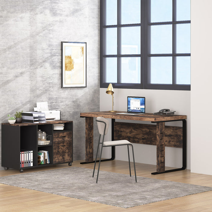 Tribesigns L-Shaped Computer Desk with Leteral File Cabinet, 55 inch Executive Office Desk Workstation