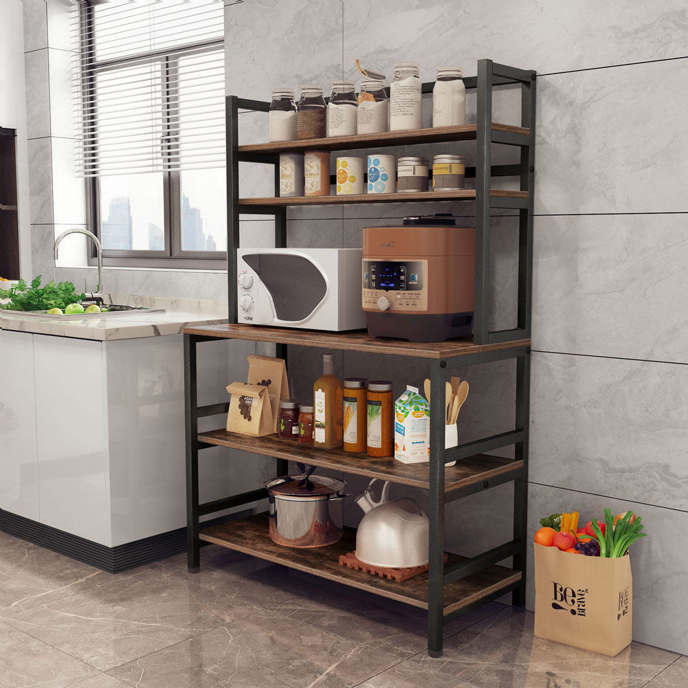 5 Tier Kitchen Bakers Rack Utility Microwave Oven Stand Storage Cart Workstation