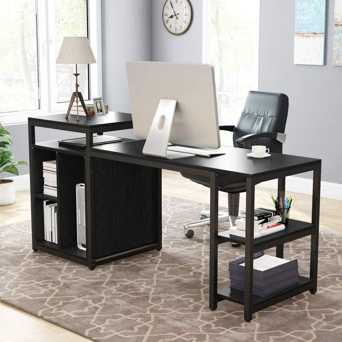 Tribesigns Computer Desk with Storage Shelf, Writing PC Table with Space Saving Design