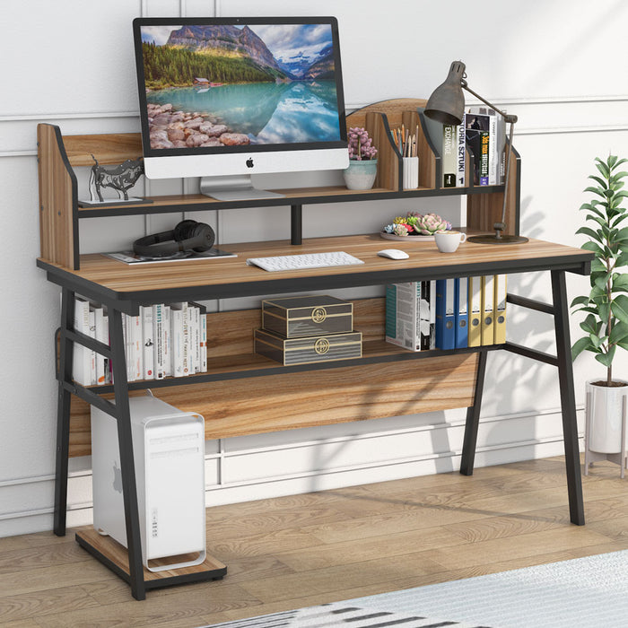 Tribesigns Computer Desk with Storage Shelf, 55 inch Large Rustic Office Desk
