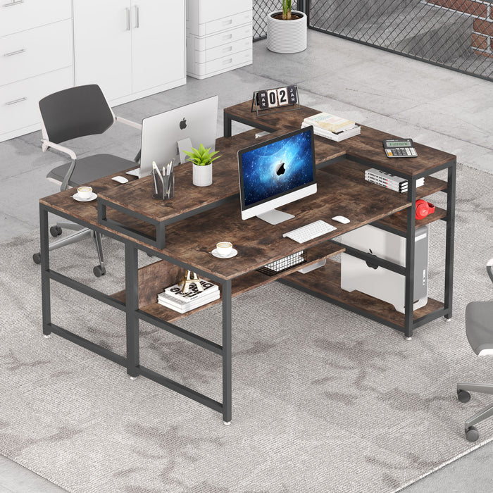 Tribesigns Two Person Desk with Storage Shelves, Double Workstation Office Desk Study Writing Table