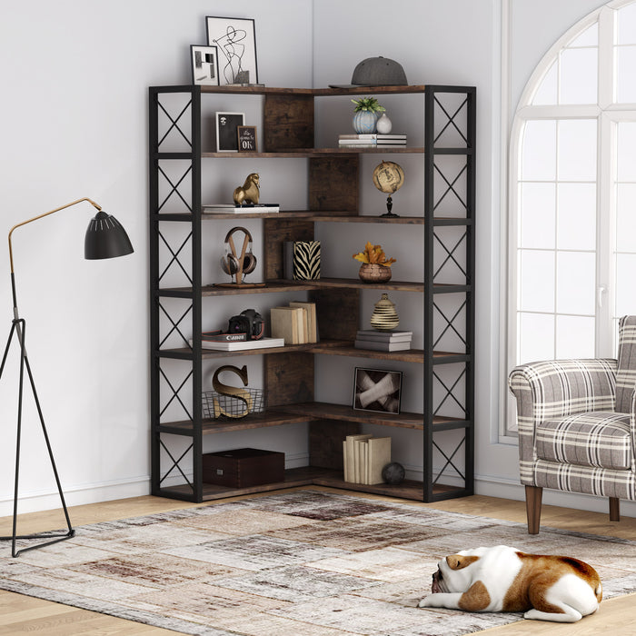 Tribesigns 6-Tier Corner Bookshelf Bookcase, Industrial Corner Etagere Bookcase, Vintage 6-Shelf Book Shelves