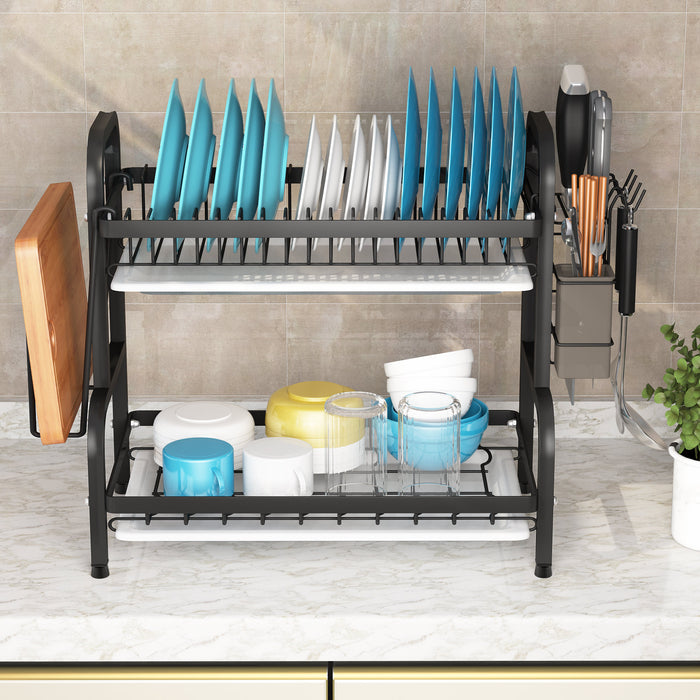 Dish Drying Rack, 2-Tier Compact Kitchen Dish Rack Drainboard Set, Large Rust-Proof Dish Drainer with Utensil Holder