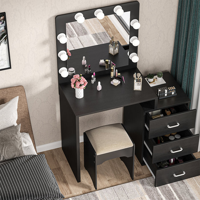 Tribesigns Large Vanity Table with 9 Light Bulbs, Makeup Table with 3 Storage Drawers, Dressing Table