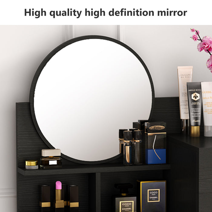 Tribesigns Vanity Table Makeup Table with Round Mirror,Drawers