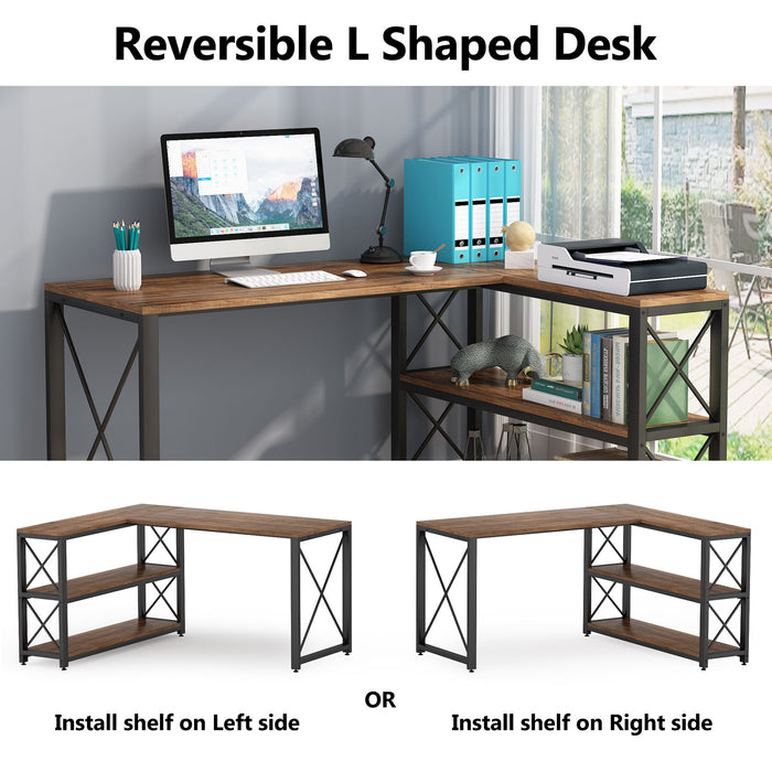 Tribesigns Industrial L-Shaped Desk with Storage Shelves, Corner Computer Desk PC Laptop Study Table