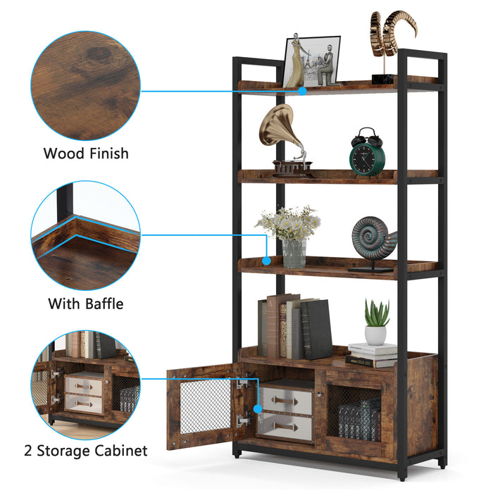 Tribesigns Vertical Bookcase with Storage Cabinet 4-Tier Bookshelf for Home Office