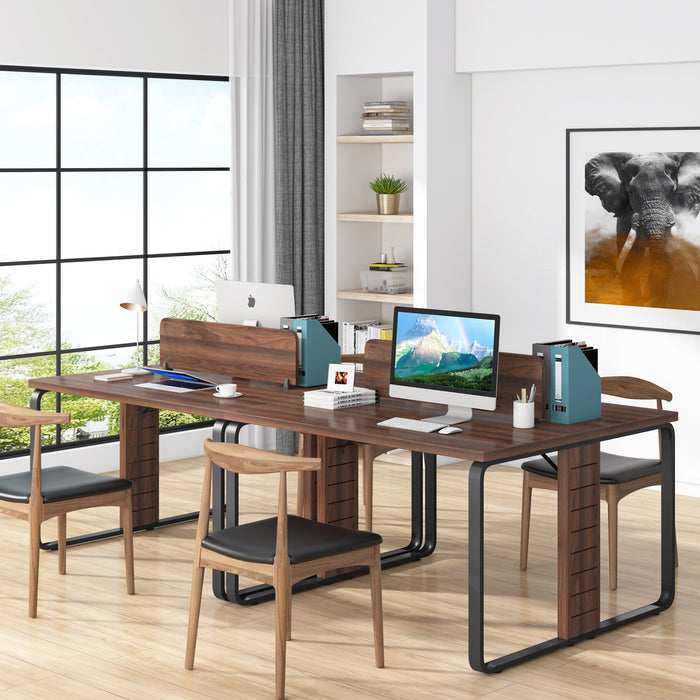 Tribesigns Computer Desk, 47 x 47 Inches Two Person Desk with Divider, Face to Face DoubleWorkstation