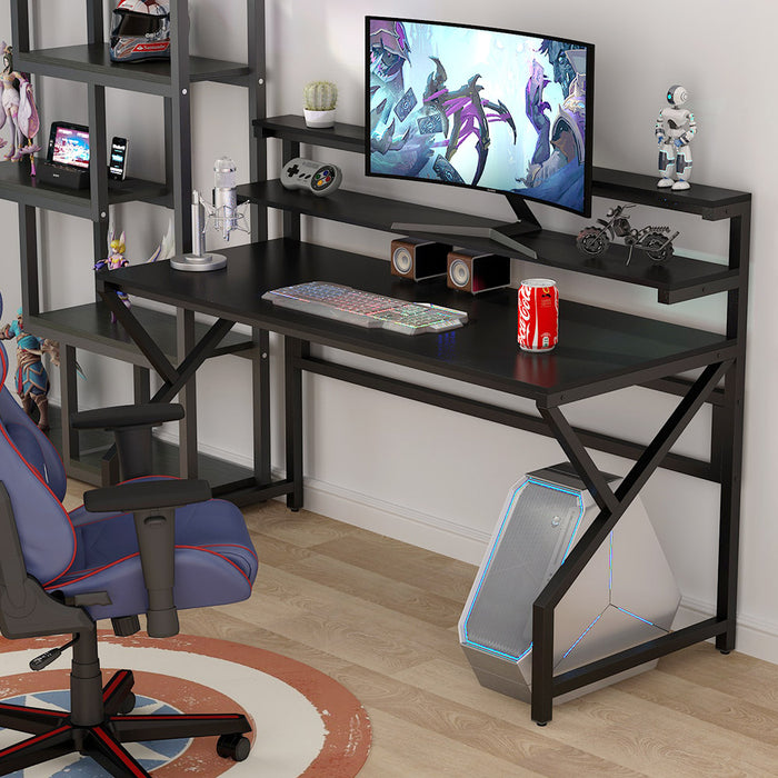 Tribesigns Computer Desk with Monitor Stand, 55 Inch Large Modern Office Desk