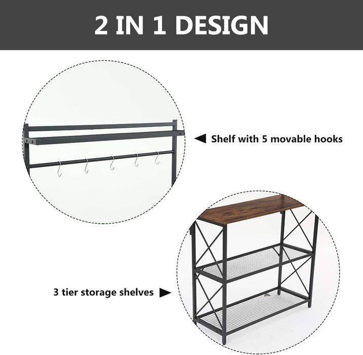 Industrial Kitchen Baker's Rack, 4-Tier Utility Storage Shelf, Microwave Oven Stand Rack with 5 Hooks