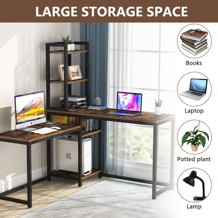 Tribesigns L-Shaped Desk Computer Corner Desk, Home Office Double Desk, Gaming Desk with 5 Storage Shelves, Study Writing Table with Bookshelf for Home Office, Brown